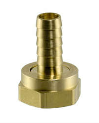 "3/8"" Barb X 3/4"" Garden Hose Swivel."