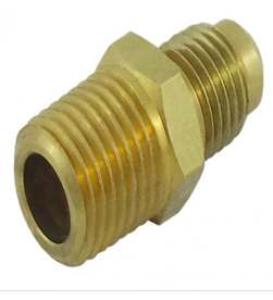 "Brass Half Union, 1/4"" MFL x 1/4"" MPT"