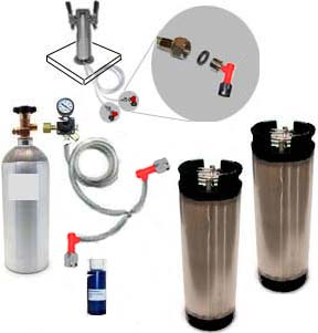 2 Keg Homebrew Freezer CO2 System w/Draft Tower (Pin Lock)